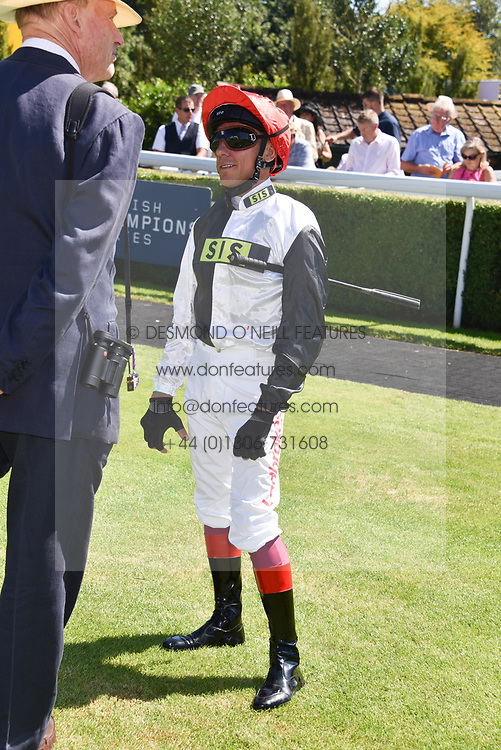 Left to right, John Gosden and Frankie Dettori at the Qatar Goodwood Festival - Glorious Goodwood, Goodwood Racecourse, West Sussex 02 August 2018.