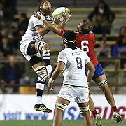 United States Captain Todd Clever (7) out leaps Ignacio Silva (6) during the 2016 Americas Rugby Championship match at Lockhart Stadium on Saturday, February 20, 2016 in Fort Lauderdale, Florida.  (Alex Menendez via AP)
