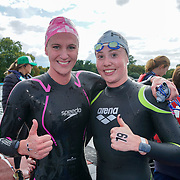 London, England, UK. 16th September 2017. Jazz Carlin Winner of the Super six and Sarah Bosslet in second place Swim Serpentine 2017 at Serpentine lake.