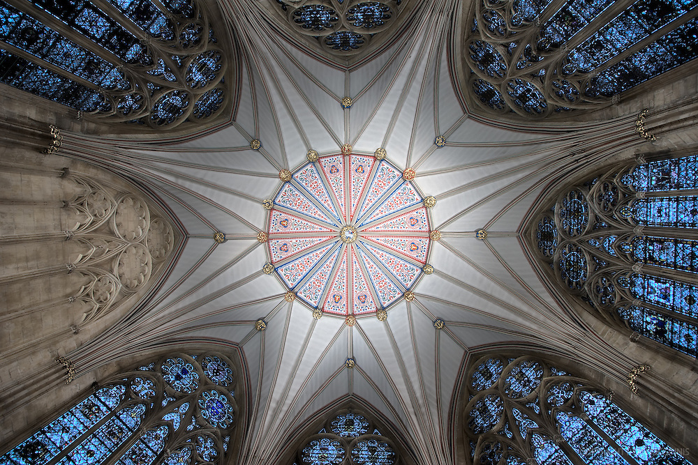 This is the interior of York Minster in York, North Yorkshire, England.  This is a detail of the chapter house ceiling. The style of the chapter house is of the early Decorated Period where geometric patterns were used in the tracery of the windows, which were wider than those of early styles.  Constructed in 1338, York Minster is the second-largest Gothic cathedral in northern Europe.<br /> <br /> December 13, 2007.  This is an HDR photo.