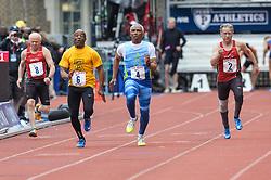 April 27, 2018 - Philadelphia, Pennsylvania, U.S - TY BROWN (4) wins the Masters Men's 100m dash 70+ at Franklin Field in Philadelphia, Pennsylvania. (Credit Image: © Amy Sanderson via ZUMA Wire)