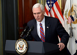 Vice President Mike Pence speaks during a swearing in ceremony, on March 2, 2017 in Washington, DC. Photo by Olivier Douliery/ Abaca