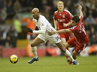 Photo: Aidan Ellis.<br /> Liverpool v Bolton Wanderers. The Barclays Premiership. 01/01/2007.<br /> Bolton's Nicolas Anelka skips away from Liverpool's Mark Gonzalez