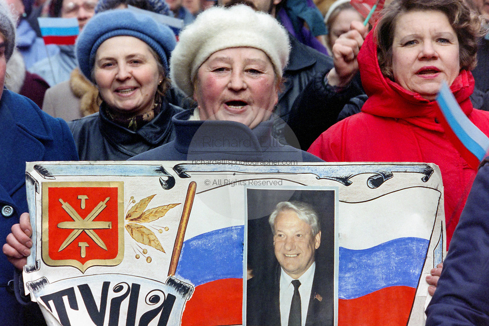 Russian citizens march in support of President Boris Yeltsin to Red Square March 28, 1993 in Moscow, Russia. The supporters marched through central Moscow ending in Red Square where Yeltsin addressed the crowd.