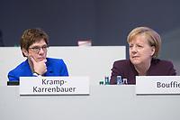 22 NOV 2019, LEIPZIG/GERMANY:<br /> Annegret Kramp-Karrenbauer (L), CDU Bundesvorsitzende und Bundesverteidigungsministerin, und Angela Merkel (R), CDU, Bundeskanzlerin, im Gespraech, CDU Bundesparteitag, CCL Leipzig<br /> IMAGE: 20191122-01-255<br /> KEYWORDS: Parteitag, party congress, Gespräch