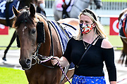 Masked trainer prior to Race 7, Haunui Farm King's Plate (G3) 1200.<br /> Vodafone Derby Day at Ellerslie Race Course, Auckland on Sunday 7th March 2021 during lockdown level 2.<br /> Copyright photo: Alan Lee / www.photosport.nz