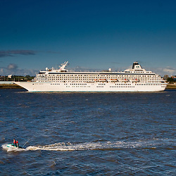 Cruise ship Crystal Symphony in the River Mersey by Liverpool