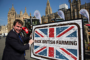 Craig Williams MP at the National Farmers Union NFU took machinery, produce, farmers and staff to Westminster to encourage Members of Parliament to back British farming, post Brexit on 14th September 2016 in London, United Kingdom. MPs were encouraged to sign the NFU's pledge and wear a British wheat and wool pin badge to show their support.
