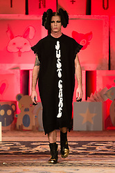 © Licensed to London News Pictures. 14/02/2020. London, UK.  London Fashion Week Autumn Winter 2020 - Vin + OMI runway show - model on the catwalk.  Photo credit : Richard Isaac/LNP