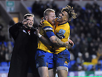 Rugby Union - 2019 / 2020 Gallagher Premiership - London Irish vs. Bath<br /> <br /> Tom Homer of Bath celebrates his 2nd half try,with Anthony Watson, at Madejski Stadium.<br /> <br /> COLORSPORT/ANDREW COWIE