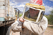 """23 APRIL 2007 -- FT. MCDOWELL, AZ: DENNIS ARP, an Arizona beekeeper, suits up before servicing his hives on the Ft. McDowell Indian Reservation about 50 miles from Phoenix. Arp has been a commercial beekeeper in Flagstaff, AZ, for more than 20 years. He said he lost almost 50 percent of his hives in the last year for no apparent reason. The syndrome has been termed """"Colony Collapse Disorder"""" and was first reported on the East Coast of the US last fall. Researchers do not know what is causing the disorder. Stress, parasites, disease, pesticides and a lack of genetic diversity are all being investigated. German researchers are also studying the possibility that radiation from cellphones is scrambling the bees' internal navigation systems.  Photo by Jack Kurtz"""