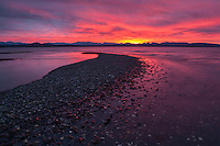 Firey sunset over the Adirondacks and Lake Champlain, Charlotte, Vermont