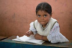 South America, Ecuador, Morocho, village near Cotacachi, girl in classroom in elementary school