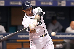 May 26, 2018 - St. Petersburg, FL, U.S. - ST. PETERSBURG, FL - MAY 26: Wilson Ramos (40) of the Rays at bat during the MLB regular season game between the Baltimore Orioles and the Tampa Bay Rays on May 26, 2018, at Tropicana Field in St. Petersburg, FL. (Photo by Cliff Welch/Icon Sportswire) (Credit Image: © Cliff Welch/Icon SMI via ZUMA Press)