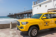 Yellow Fire Department and Lifeguard Truck at Oceanside Pier