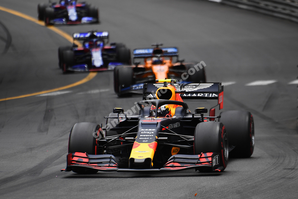 Pierre Gasly (Red Bull-Renault) in front of Carlos Sainz Jr (McLaren-Renault) and others during the 2019 Monaco Grand Prix. Photo: Grand Prix Photo
