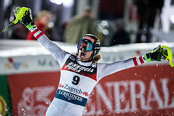 """Manuel Feller (AUT) celebrates during the 2nd Run of FIS Alpine Ski World Cup 2017/18 Men's Slalom race named """"Snow Queen Trophy 2018"""", on January 4, 2018 in Course Crveni Spust at Sljeme hill, Zagreb, Croatia. Photo by Vid Ponikvar / Sportida"""