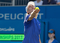 Tennis - 2017 Aegon Championships [Queen's Club Championship] - Day Three, Wednesday<br /> <br /> Men's Singles: Round of 16 _ Tomas Berdych (CZE) Vs Denis Shapovalov (CAN)<br /> <br /> Denis Shapovalov (CAN) serves on centre court at Queens Club<br /> <br /> COLORSPORT/DANIEL BEARHAM