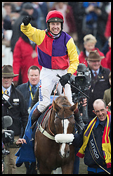 March 16, 2018 - Cheltenham, United Kingdom - Image licensed to i-Images Picture Agency. 16/03/2018. Cheltenham , United Kingdom. Jockey Richard Johnson on his horse Native River celebrate after they won the  Gold Cup on the final day of  the Cheltenham Festival, United Kingdom. (Credit Image: © Stephen Lock/i-Images via ZUMA Press)