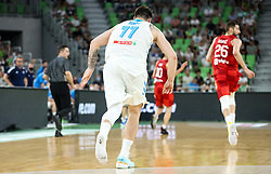 Luka Doncic of Slovenia lost his shoe during friendly basketball match between National teams of Slovenia and Croatia, on June 18, 2021 in Arena Stozice, Ljubljana, Slovenia. Photo by Vid Ponikvar / Sportida