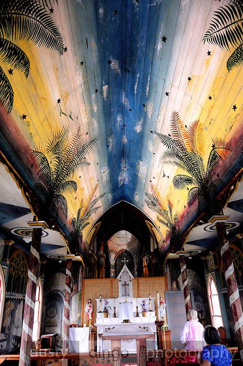 Hand-painted interior of St. Benedict's Roman Catholic Church, also known as the Painted Church. Honaunau, Kona, Big Island, Hawaii
