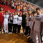 Galatasaray's supporters during their Turkish Basketball league Play Off Final third leg match Galatasaray between Fenerbahce Ulker at the Abdi Ipekci Arena in Istanbul Turkey on Thursday 09 June 2011. Photo by TURKPIX