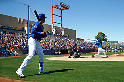 March 18, 2018 - Las Vegas, NV, U.S. - LAS VEGAS, NV - MARCH 18: Kris Bryant (17) of the Cubs looks on from the on-deck circle as Anthony Rizzo (44) swings during a game between the Chicago Cubs and Cleveland Indians as part of Big League Weekend on March 18, 2018 at Cashman Field in Las Vegas, Nevada. (Photo by Jeff Speer/Icon Sportswire) (Credit Image: © Jeff Speer/Icon SMI via ZUMA Press)