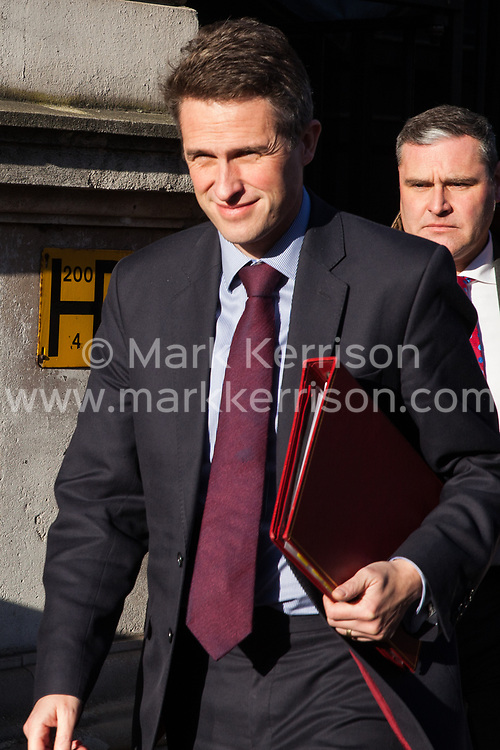 London, UK. 4th December, 2018. Gavin Williamson MP, Secretary of State for Defence, leaves Downing Street following a Cabinet meeting on the day on which MPs will begin to debate Prime Minister Theresa May's Brexit agreement in the House of Commons.