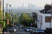 With the London skyline in the far distance,the steep gradient of Gypsy Hill in Crystal Palace, on 16th June 2021, in London, England.