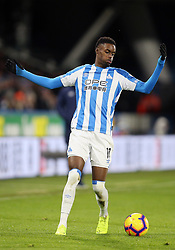 """Huddersfield Town's Adama Diakhaby during the Premier League match at the John Smith's Stadium, Huddersfield. PRESS ASSOCIATION Photo. Picture date: Tuesday January 29, 2019. See PA story SOCCER Huddersfield. Photo credit should read: Nigel French/PA Wire. RESTRICTIONS: EDITORIAL USE ONLY No use with unauthorised audio, video, data, fixture lists, club/league logos or """"live"""" services. Online in-match use limited to 120 images, no video emulation. No use in betting, games or single club/league/player publications"""