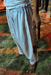 October 28, 2016 - Allahabad, Uttar Pradesh, India - Allahabad: A Shia Muslim hold a bunch of knief used during join Ashura'a Taziya parade held in Allahabad on 28-10-2016, Muharram is celebrated to mark the climax of the mourning which is Called Ashura, The ccommenmoration of Imam Hussain's. photo by prabhat kumar verma (Credit Image: © Prabhat Kumar Verma via ZUMA Wire)