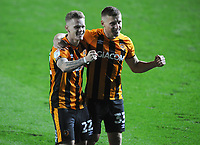 Football - 2020 / 2021 EFL Cup - Round Two - Leeds United vs Hull City<br /> <br /> Docherty and Mayer of Hull celebrate after winning in the penalty shoot out  at Elland Road<br /> <br /> COLORSPORT/ANDREW COWIE