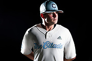 Citadel baseball shortstop Tilo Skole poses in a mock uniform with Citadel Athletics' new brand mark at Johnson Hagood Stadium in Charleston, South Carolina on Monday, June 7, 2021.<br /> (Photo by Cameron Pollack / The Citadel)