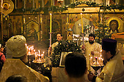 Moscow, Russia, 06/01/2006..Russians celebrate the lengthy New Year and Orthodox Christmas holidays. Believers attend midnight mass at Red Square on Orthodox Christmas Eve.