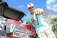 Rob VanWinkle (Vanilla Ice) in the backyard of the home in Wellington, FL  as seen on The Vanilla Ice Project. (before) (portrait) (exterior)