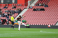 Manchester United U21 Joe Riley shoots at goal from a free kick during the Barclays U21 Premier League match between U21 Southampton and U21 Manchester United at the St Mary's Stadium, Southampton, England on 25 April 2016. Photo by Phil Duncan.