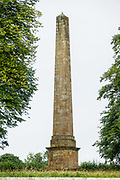 1805 obelisk near St Mary's Church, in Studley Royal Park, near Ripon and Aldfield, in North Yorkshire, England, UK, Europe. Studley Royal Park is a UNESCO World Heritage Site which also includes the ruins of Fountains Abbey.