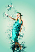 Digitally enhanced Greek Goddess in green toga