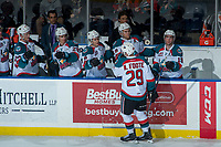KELOWNA, CANADA - MARCH 14:  Nolan Foote #29 of the Kelowna Rockets celebrates a first period goal against the Prince George Cougars on March 14, 2018 at Prospera Place in Kelowna, British Columbia, Canada.  (Photo by Marissa Baecker/Shoot the Breeze)  *** Local Caption ***
