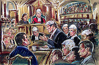 (COPYRIGHT)PRISCILLA COLEMAN-ITN NEWS.PIC SHOWS: ORLANDO POWNALL Q.C, SUMMING UP HIS PROSECUTION CASE IN THE JILL DANDO MURDER TRIAL. BARRY GEORGE IS ON TRIAL FOR THE MURDER OF TV PRESENTER JILL DANDO. (BOTTOM LEFT) BARRY GEORGE, (BOTTOM RIGHT) ALAN FARTHING.ILLUSTRATION: PRISCILLA COLEMAN