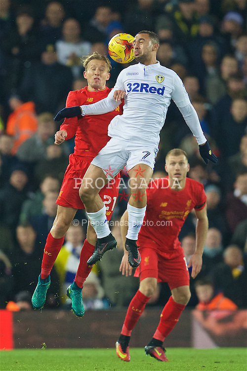 LIVERPOOL, ENGLAND - Tuesday, November 29, 2016: Liverpool's captain Lucas Leiva in action against Leeds United's Kemar Roofe during the Football League Cup Quarter-Final match at Anfield. (Pic by David Rawcliffe/Propaganda)