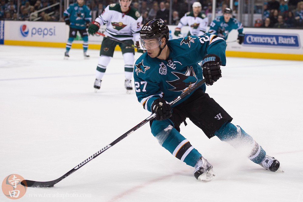 December 12, 2015; San Jose, CA, USA; San Jose Sharks right wing Joonas Donskoi (27) controls the puck during the second period against the Minnesota Wild at SAP Center at San Jose. The Wild defeated the Sharks 2-0.
