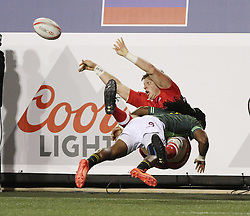 March 4, 2017 - Las Vegas, Nevada, United States of America - Canadian Rugby player John Moonlight is tackled by South African player Bronco Du Preez during the 2017 USA Sevens International Rugby Tournament game between South Africa and Canada on March 3, 2017  at Sam Boyd  Stadium  in Las Vegas, Nevada (Credit Image: © Marcel Thomas via ZUMA Wire)