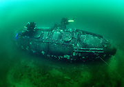 Rebreather divers on the tanker truck wreck at Dutch Springs, Scuba Diving Resort in Pennsylvania