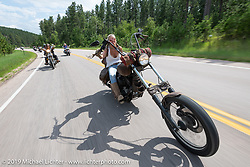 Betsy Huelskamp riding on the Cycle Source ride down Vanocker Canyon back from Nemo to the Iron Horst Saloon during the Sturgis Black Hills Motorcycle Rally. SD, USA. Wednesday, August 7, 2019. Photography ©2019 Michael Lichter.