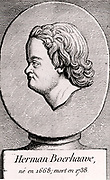 Herman Boerhaave (1668-1738) Dutch physician, humanist, botanist and chemist, born near Leiden. Founder of the clinical teaching of medicine.  Engraving from 'Histoire des Philosophes Modernes' by Alexandre Saverien (Paris, 1762).