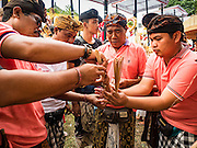 16 JULY 2016 - UBUD, BALI, INDONESIA: Men light the incense that will be used to ignite a sarcophagus during the mass cremation in Ubud. Local people in Ubud exhumed the remains of family members and burned their remains in a mass cremation ceremony Wednesday. Almost 100 people were cremated and laid to rest in the largest mass cremation in Bali in years this week. Most of the people on Bali are Hindus. Traditional cremations in Bali are very expensive, so communities usually hold one mass cremation approximately every five years. The cremation in Ubud concluded Saturday, with a large community ceremony.     PHOTO BY JACK KURTZ