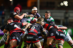 Dragons' Rynard Landman controls the forwards drive<br /> <br /> Photographer Craig Thomas/Replay Images<br /> <br /> EPCR Champions Cup Round 4 - Newport Gwent Dragons v Newcastle Falcons - Friday 15th December 2017 - Rodney Parade - Newport<br /> <br /> World Copyright © 2017 Replay Images. All rights reserved. info@replayimages.co.uk - www.replayimages.co.uk