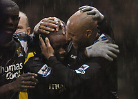 Photo: Olly Greenwood.<br />West Ham United v Manchester City. The Barclays Premiership. 30/12/2006. Manchester City's DaMarcus Beasley celebrates scoring with Ousmane Dabo