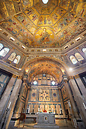 The interior of the Bapistry of Florence  Duomo ( Battistero di San Giovanni ) with the altar and  medieval ceiling mosaics of Christ and the last judgement . Florence Italy .<br /> <br /> If you prefer you can also buy from our ALAMY PHOTO LIBRARY  Collection visit : https://www.alamy.com/portfolio/paul-williams-funkystock/byzantine-art-antiquities.html . Type -   Florence   - into the LOWER SEARCH WITHIN GALLERY box. Refine search by adding subject etc<br /> <br /> Visit our BYZANTINE ART PHOTO COLLECTION for more   photos  to download or buy as prints https://funkystock.photoshelter.com/gallery-collection/Roman-Byzantine-Art-Artefacts-Antiquities-Historic-Sites-Pictures-Images-of/C0000lW_87AclrOk .<br /> <br /> Visit our ITALY PHOTO COLLECTION for more   photos of Italy to download or buy as prints https://funkystock.photoshelter.com/gallery-collection/2b-Pictures-Images-of-Italy-Photos-of-Italian-Historic-Landmark-Sites/C0000qxA2zGFjd_k<br /> .<br /> <br /> Visit our MEDIEVAL PHOTO COLLECTIONS for more   photos  to download or buy as prints https://funkystock.photoshelter.com/gallery-collection/Medieval-Middle-Ages-Historic-Places-Arcaeological-Sites-Pictures-Images-of/C0000B5ZA54_WD0s